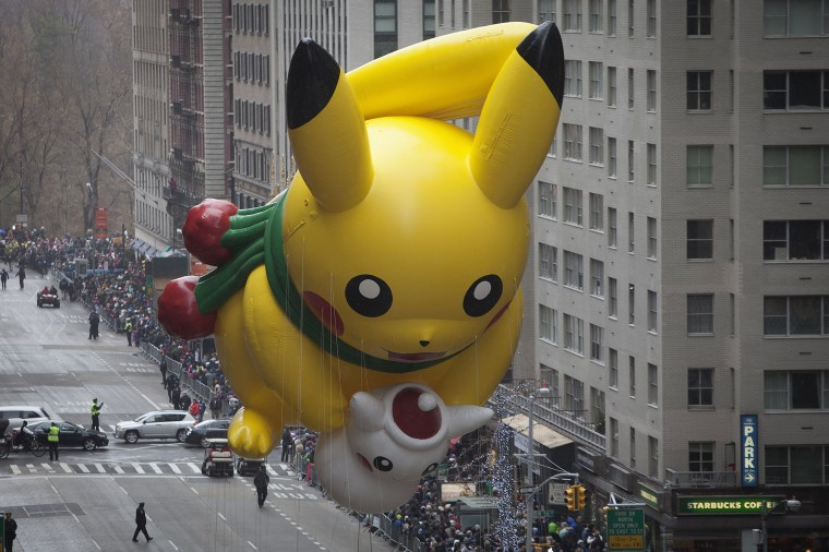 The Pikachu float makes its way down 6th Ave during the Macy's Thanksgiving Day Parade in New York. (REUTERS/Carlo Allegri)