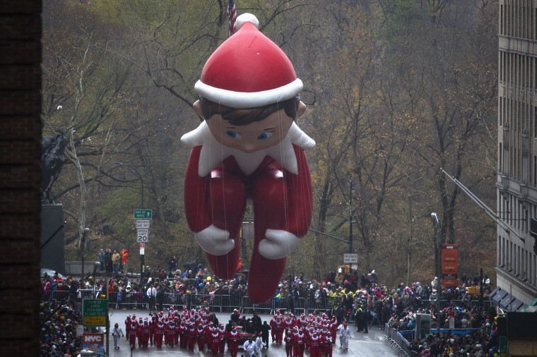 The Elf on the Shelf float makes its way down 6th Ave during the Macy's Thanksgiving Day Parade in New York. (REUTERS/Carlo Allegri)