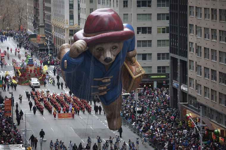 The Paddington Bear float makes its way down 6th Ave during the Macy's Thanksgiving Day Parade in New York. (REUTERS/Carlo Allegri)