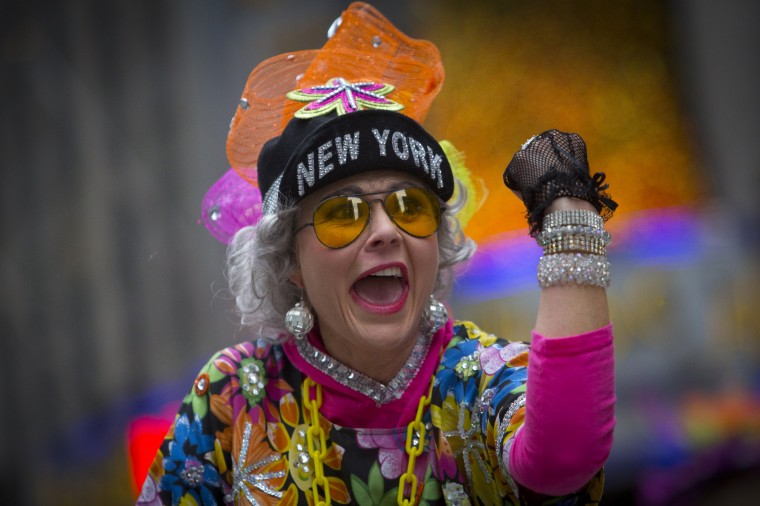 A member of the Red Hot Mamas performs during the 88th Annual Macy's Thanksgiving Day Parade in New York. (REUTERS/Andrew Kelly)