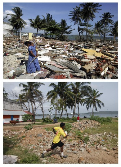 A combination photo shows (TOP) a woman wandering around the rubble in the commercial center of the town of Galle, southern Sri Lanka, on January 30, 2005 after it was flattened by the Dec 26 tsunami, and (BOTTOM) a boy running with a ball in outside of a soccer field in Galle October 6, 2009. (REUTERS/Desmond Boylan/Carlos Barria)