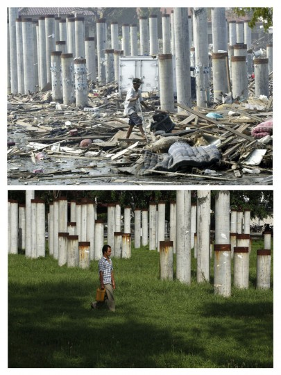 A combination photo shows (top) an Acehnese man walking on debris from the aftermath of the 2004 tsunami in the provincial Indonesian capital of Banda Aceh January 4, 2005, and (bottom) an Acehnese man walking in the same area in Banda Aceh, December 3, 2009. Though confusion sometimes reigned among many aid groups with varying agendas, they built more than 140,000 homes, 1,700 schools, 996 government buildings, 36 airports and seaports, 3,800 houses of worship, 363 bridges and 3,700 km of road, according to Indonesian reconstruction agency (BRR) data. Pictures taken January 4, 2005 and December 3, 2009. (REUTERS/Romeo Ronoco/Beawiharta)