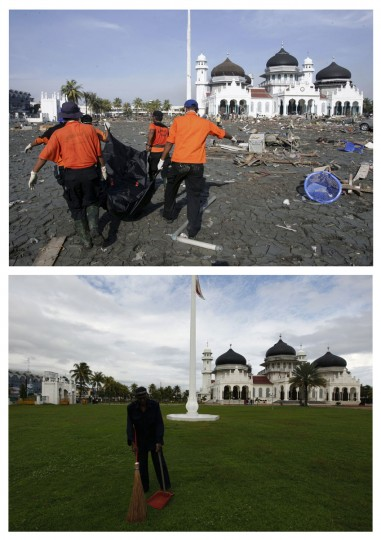A combination photo shows (top) rescue workers removing a body of a tsunami victim from the compound of the Grand Mosque in Banda Aceh, December 29, 2004 and (bottom) an Acehnese worker sweeping the grass in the same area, December 3, 2009. Though confusion sometimes reigned among many aid groups with varying agendas, they built more than 140,000 homes, 1,700 schools, 996 government buildings, 36 airports and seaports, 3,800 houses of worship, 363 bridges and 3,700 km of road, according to Indonesian reconstruction agency (BRR) data. Pictures taken December 29, 2004 and December 3, 2009. (REUTERS/Darren Whiteside/Beawiharta)