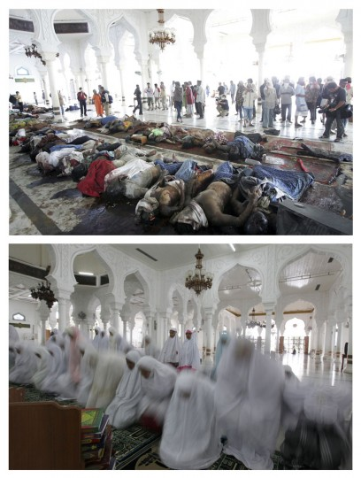 A combination photo shows (top) survivors looking at the bodies of tsunami victims at the Baiturrahman mosque in Banda Aceh, December 29, 2004, and (bottom) Acehnese women praying in the same area, December 2, 2009. Though confusion sometimes reigned among many aid groups with varying agendas, they built more than 140,000 homes, 1,700 schools, 996 government buildings, 36 airports and seaports, 3,800 houses of worship, 363 bridges and 3,700 km of road, according to Indonesian reconstruction agency (BRR) data. Pictures taken December 29, 2004 and December 2, 2009. (REUTERS/Darren Whiteside/Beawiharta)