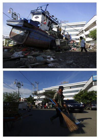 A combination photo shows (top) an Acehnese man walking past a ship washed ashore by the tsunami in Banda Aceh December 28, 2004, and (bottom) an Acehnese worker sweeping a street in front of the Hotel Medan in the same area, December 5, 2009. Though confusion sometimes reigned among many aid groups with varying agendas, they built more than 140,000 homes, 1,700 schools, 996 government buildings, 36 airports and seaports, 3,800 houses of worship, 363 bridges and 3,700 km of road, according to Indonesian reconstruction agency (BRR) data. Pictures taken December 28, 2004 and December 5, 2009. (REUTERS/Beawiharta)