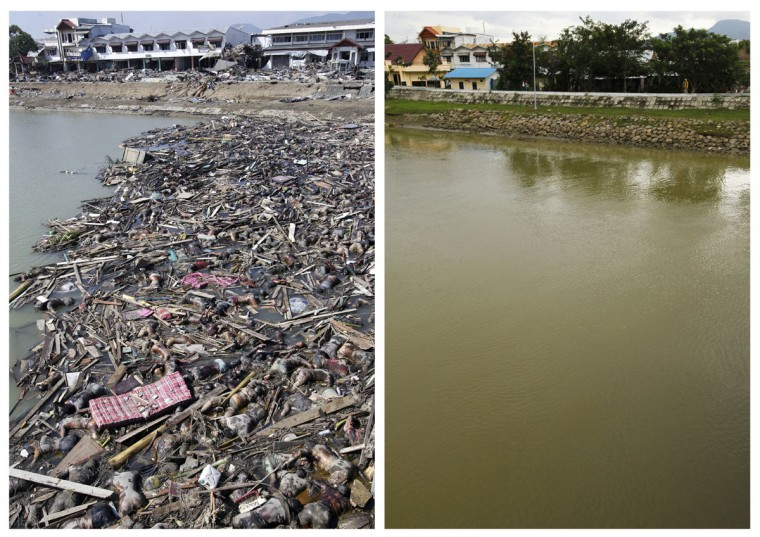 A combination photo shows (top) bodies of tsunami victims floating in the water near the city port of Banda Aceh, December 29, 2004, and (bottom) a view of the same area, December 3, 2009. Though confusion sometimes reigned among many aid groups with varying agendas, they built more than 140,000 homes, 1,700 schools, 996 government buildings, 36 airports and seaports, 3,800 houses of worship, 363 bridges and 3,700 km of road, according to Indonesian reconstruction agency (BRR) data. Pictures taken December 29, 2004 and December 3, 2009. (REUTERS/Darren Whiteside/Beawiharta)