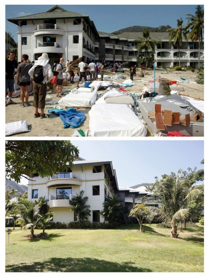 In this combo picture, tourists are seen outside a hotel as they wait to be evacuated from Phi Phi Island after giant waves swept through the tourist resort December 27,2004 (top) and the same site nearly five years after, December 11, 2009. As the world prepares to mark the fifth anniversary of the tsunami that killed 226,000 people in 13 Asian and African countries, scars have yet to heal even after homes have been rebuilt, tourists have returned and foreign aid has ended. (REUTERS/Stringer (top) and Damir Sagolj)