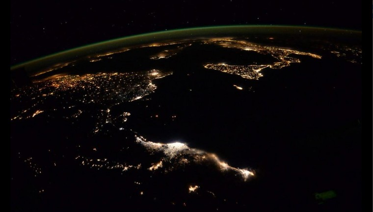 Night time over Europe and northern African from the ISS on October 21. (Reid Wiseman/NASA)