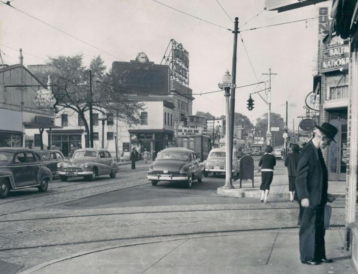 Greenmount Avenue, Oct 24, 1950. Sun file photo by W. Ross Dunaway.