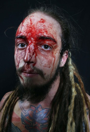 Wrestler Icarus poses after his fight during the Hungarian wrestling Championship in Budapest. (Laszlo Balogh/Reuters)