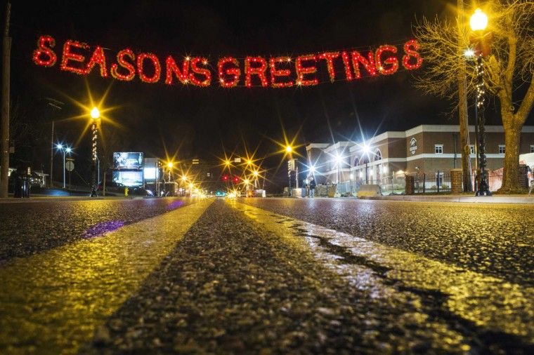 A holiday sign hangs in front of the Ferguson Police Department on a Thanksgiving evening that has thus far been devoid of protests in Ferguson, Missouri November 27, 2014. Tensions eased in the St Louis suburb of Ferguson on Thursday after two nights of violence and looting sparked by racially charged anger over a grand jury's decision not to charge a white police officer for fatally shooting an unarmed black teenager. Protests also dwindled elsewhere in the United States as the Thanksgiving Day holiday and wintry weather kept many indoors. (Lucas Jackson/Reuters)