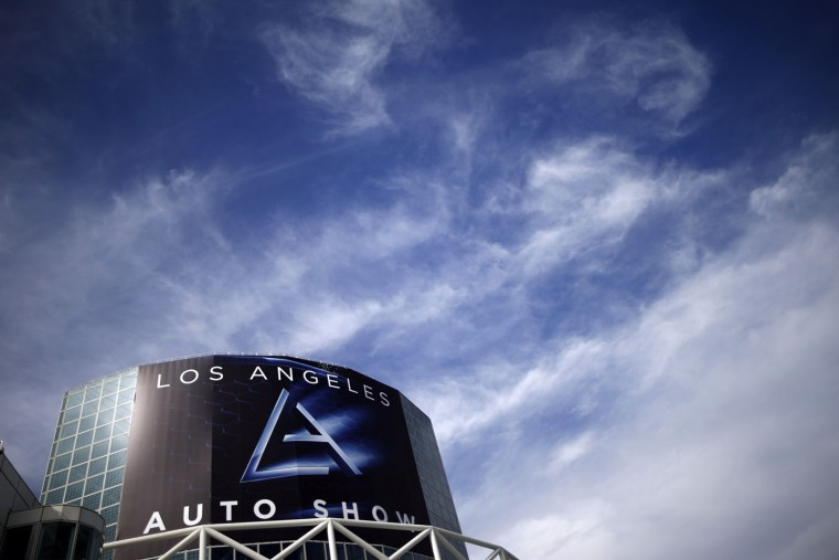 A sign is seen on the Convention Center in preparation for the 2014 LA Auto Show in Los Angeles, California November 18, 2014. (Lucy Nicholson/Reuters)
