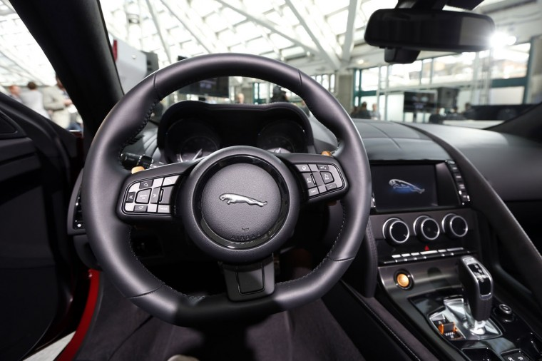 A 2015 F-Type Jaguar V8 S convertible is seen during preparations for the 2014 LA Auto Show in Los Angeles, California November 18, 2014. (Lucy Nicholson/Reuters)