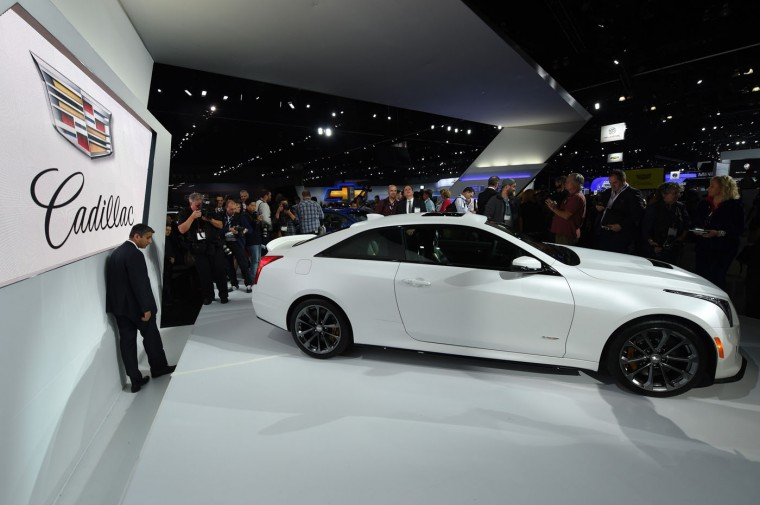 The Cadillac 2016 ATS-V coupe is unveiled at the LA Auto Show media day on November 19, 2014 in Los Angeles, California. (Robyn Beck/AFP/Getty Images)