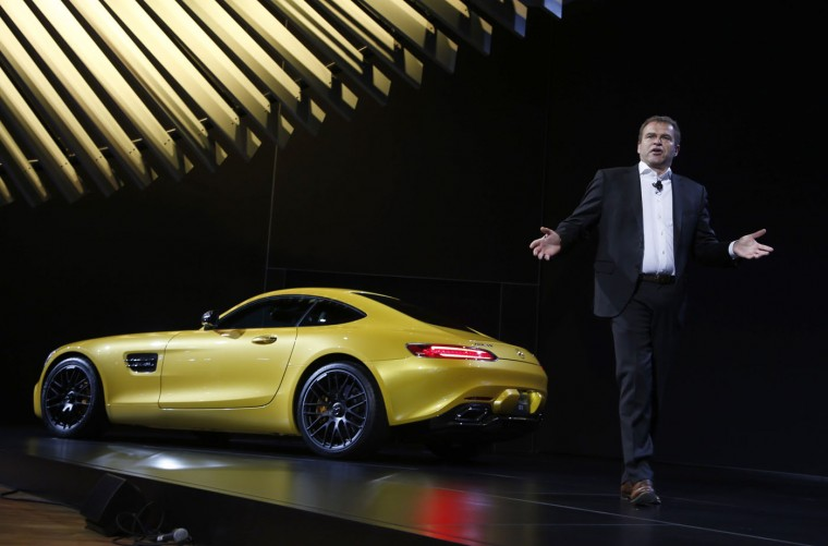 Tobias Moers, chairman of the Board of Management of Mercedes-AMG GmbH, speaks about the Mercedes AMG GT S during the model's world debut at the Los Angeles Auto Show in Los Angeles, California November 19, 2014. (Lucy Nicholson/Reuters)