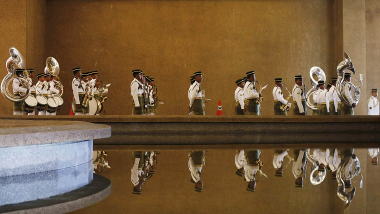 A Malaysian military band is seen after taking part in a welcoming ceremony for Bangladesh Prime Minister Sheikh Hasina in Putrajaya December 3, 2014. (Olivia Harris/Reuters photo)