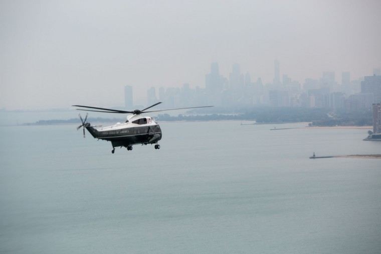 """Oct. 2, 2014 """"A view from the Nighthawk Two helicopter of Lake Michigan and the Chicago skyline as the President traveled aboard Marine One."""" (Official White House Photo by Pete Souza)"""