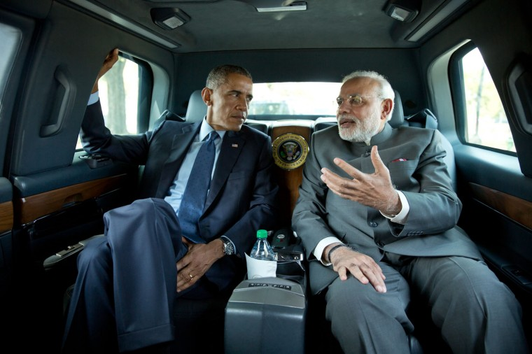 """Sept. 30, 2014 """"I asked the President if I could ride in his vehicle as he traveled to the Martin Luther King, Jr. Memorial with Prime Minister Narendra Modi of India."""" (Official White House Photo by Pete Souza)"""