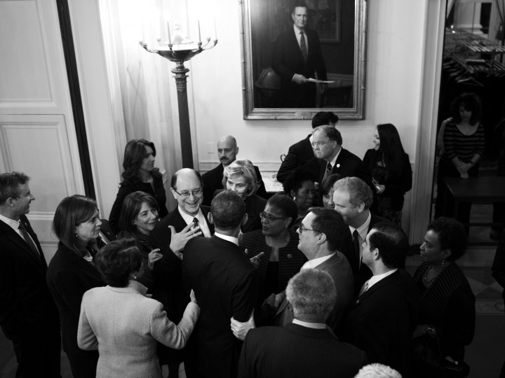 """Feb. 4, 2014 """"Members of Congress vie for the President's attention following a meeting with the House Democratic Caucus in the East Room of the White House."""" (Official White House Photo by Pete Souza)"""