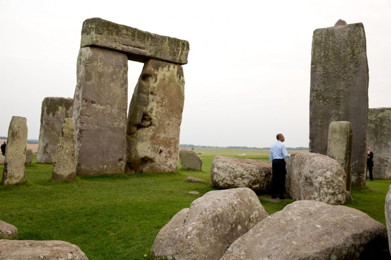 """Sept. 5, 2014 """"We were at the NATO Summit in Wales when someone mentioned to the President that Stonehenge wasn't that far away. 'Let's go,' he said. So when the Summit ended, we took a slight detour on the way back to Air Force One."""" (Official White House Photo by Pete Souza)"""