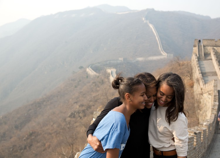 """March 23, 2014 """"A great moment captured by Amanda Lucidon of the First Lady and daughters Sasha and Malia during their visit to the Great Wall of China."""" (Official White House Photo by Amanda Lucidon)"""