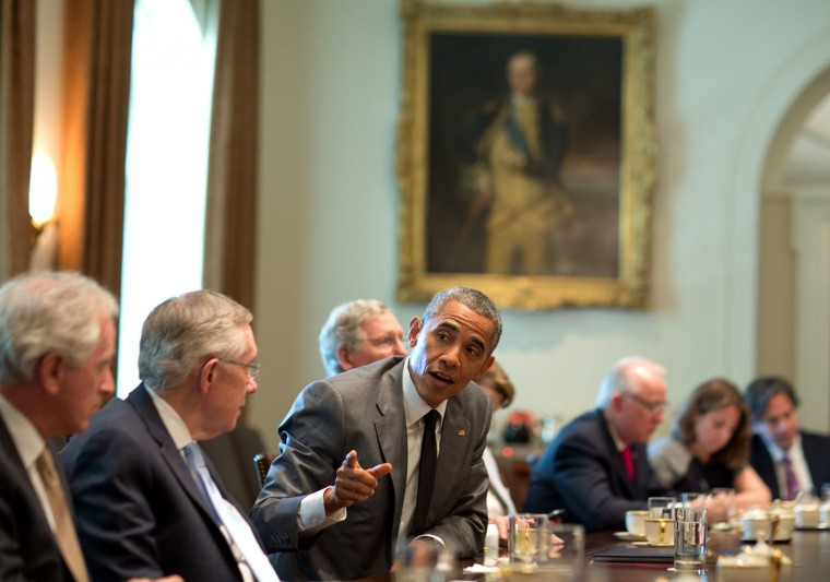 """July 31, 2014 """"It's true that the President has a calm demeanor. Not always though. Here the President expresses his dismay at comments from a Republican member of Congress discussing the administration's policy in Syria during a meeting with the chairs and ranking members of congressional national security committees. This frank exchange was later reported in the press."""" (Official White House Photo by Pete Souza)"""
