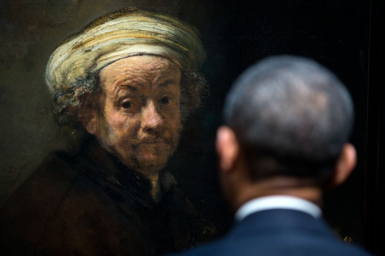 """March 24, 2014 """"POTUS meets Rembrandt. The President looks at Rembrandt's 'Self-portrait as the Apostle Paul' during a tour of the Gallery of Honor at the Rijksmuseum in Amsterdam, the Netherlands."""" (Official White House Photo by Pete Souza)"""