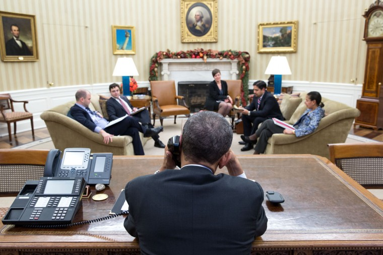 In this handout image provided by The White House, U.S. President Barack Obama talks with President Raúl Castro of Cuba from the Oval Office, on December 16, 2014 in Washington, DC. Obama announced plans to restore diplomatic relations with Cuba, over 50 years after they were severed in January 1961. In a prisoner exchange, U.S. contractor Alan Gross was freed after being held in Cuba since 2009 and sent to Cuba three Cuban spies who had imprisoned in the U.S. since 2001. (Official White House Photo by Pete Souza)