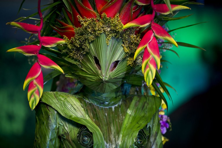 A model presents a creation made with organic elements by Colombian designer Juan Pablo Garzon during BioFashion show, in Cali, Department of Valle del Cauca, Colombia, on November 29, 2014. (LUIS ROBAYO/AFP/Getty Images)
