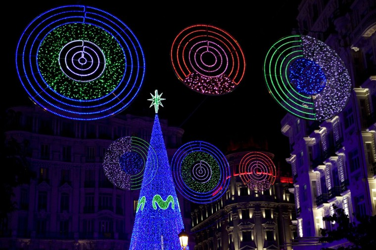 Christmas lights illuminate Monteras street near Gran Via in the centre of Madrid on December 1, 2014. (Sebastien Berda/AFP/Getty Images)