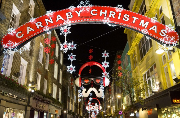 Christmas lights decorate Carnaby street in central London on December 7, 2014. (Justin Tallis/AFP/Getty Images)