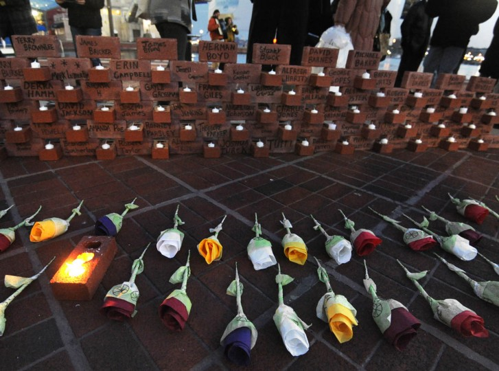 On the longest night of the year, National Homeless Persons' Memorial Day is commemorated in Baltimore by a memorial service at the Inner Harbor Amphitheatre. (Algerina Perna/Baltimore Sun)