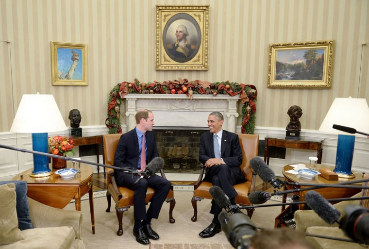 President Barack Obama meets with Prince William, the Duke of Cambridge, in the Oval Office of the White House on Dec. 8, 2014 in Washington, D.C. This is Britain's Prince William and Princess Kate's first official visit to the U.S. (Olivier Douliery/Abaca Press/TNS)