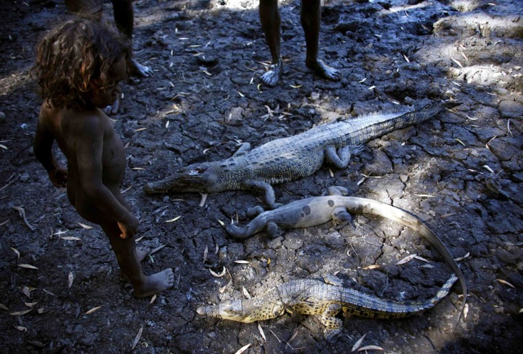 Johnny, the three-year-old grandson of Australian Aboriginal hunter Roy Gaykamangu, of the Yolngu people looks at the crocodiles and a native Australian lizard called a Goanna that have been killed at a billabong near the 'out station' of Yathalamarra, located on the outskirts of the community of Ramingining in East Arnhem Land. (David Gray/Reuters)