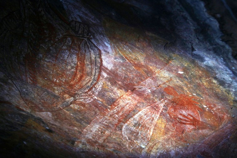 Australian Aboriginal rock art can be seen in a cave near the township of Jabiru located near Arnhem Land. (David Gray/Reuters)