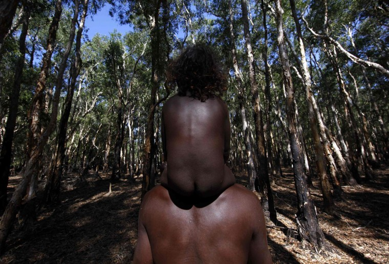 Australian Aboriginal hunter Michael Gaykamangu of the Yolngu people carries his three-year-old son Johnny on his shoulders as they walk through a paperbark tree forest to look for crocodiles at a billabong near the 'out station' of Yathalamarra, located on the outskirts of the community of Ramingining in East Arnhem Land. (David Gray/Reuters)