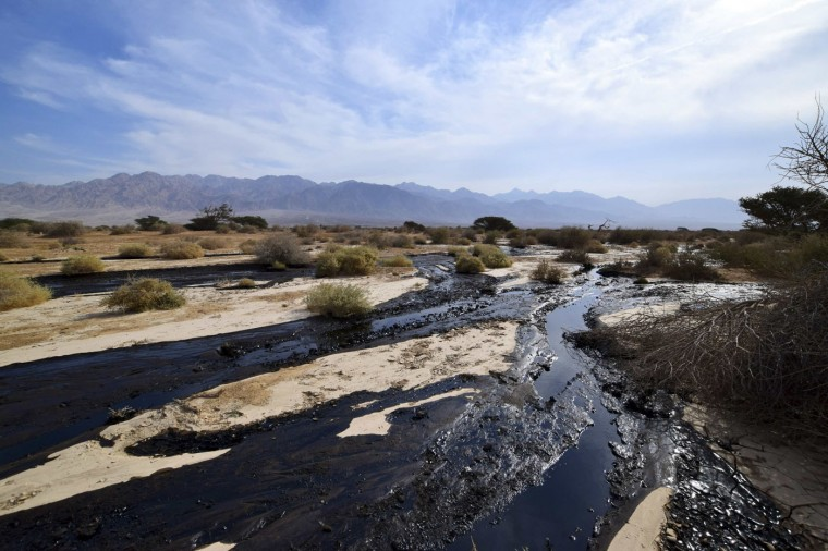 Crude oil streams through the desert in south Israel, near the village of Beer Ora, north of Eilat December 4, 2014. Millions of liters of crude oil have gushed out of a pipeline to flood 200 acres of a desert nature reserve in southern Israel, officials said on Thursday. REUTERS/Yehuda Ben Itach