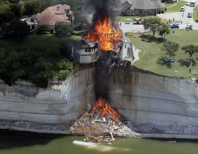 Smoke rises from a house days after part of the ground it was resting on collapsed into Lake Whitney, Texas in this June 13, 2014 file photo. I was covering the controlled burn of a house slowly falling into Lake Whitney due to the decaying cliff underneath. Asked to take photos from an aerial perspective, an instructor and I took off from Grand Prairie Municipal Airport around 9am. The burn, scheduled to start an hour later, was delayed. I love flying, but patience proved challenging as circling for nearly three hours gets boring fast. Once the fire started we only had 15 minutes to take photos because the plane was booked at 1pm. The owners invested their retirement savings in the house and were even advised by geologists that the ground was stable. To watch your investment literally go up in flames must take its toll emotionally. The owners said they don't expect their insurance to cover the loss. - Brandon Wade