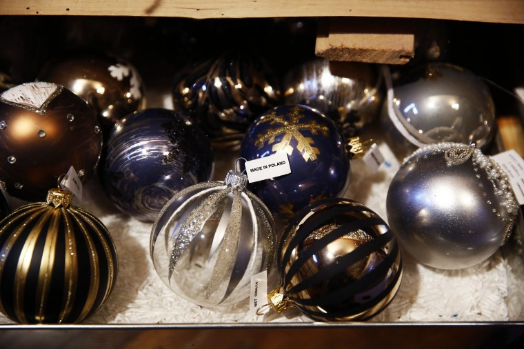Glass baubles are displayed at the Silverado manufacture of hand-blown Christmas ornaments in the town of Jozefow outside Warsaw December 2, 2014. REUTERS/Kacper Pempel
