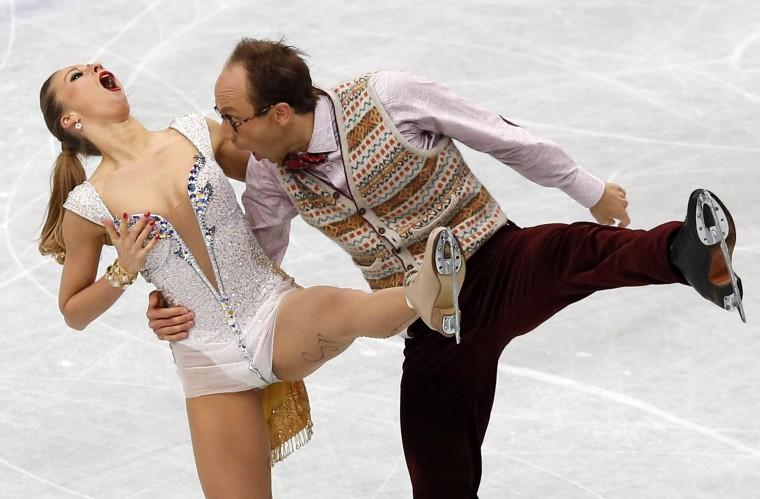Germany's Nelli Zhiganshina and Alexander Gazsi compete in the ice dance short dance program at the ISU World Figure Skating Championships in Saitama, north of Tokyo, in this March 28, 2014 file photo. REUTERS/Toru Hanai/Files