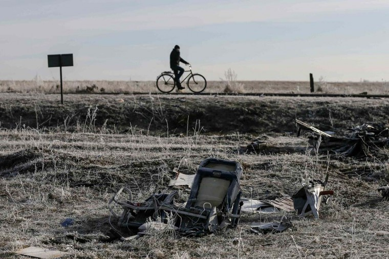 A man rides his bicycle past the wreckage of MH17, a Malaysia Airlines Boeing 777 plane, at the site of the plane crash near the village of Hrabove (Grabovo) in Donetsk region, December 15, 2014. (Maxim Shemetov/Reuters)
