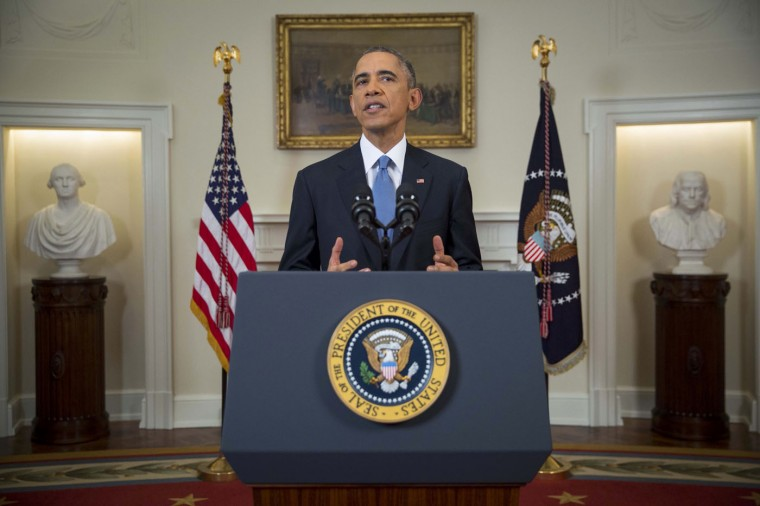 U.S. President Barack Obama announces a shift in policy toward Cuba while delivering an address to the nation from the Cabinet Room of the White House in Washington, December 17, 2014.The shift in policy follows Cuba's release of American aid worker Alan Gross after five years in prison in a reported prisoner exchange with Havana. REUTERS/Doug Mills/Pool