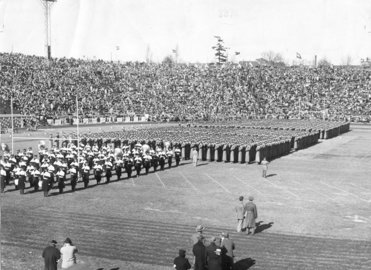 The Corps of Cadets from West Point march in formation between halves at the 1944 game. (UM Libraries, Special Collections, News American Photo)