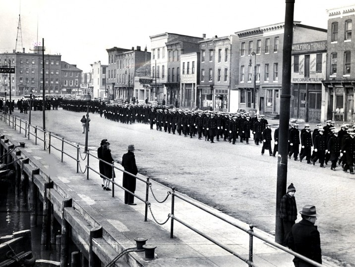 The Midshipmen march to Baltimore Stadium for the 1944 Army-Navy game. (Baltimore Sun file photo)