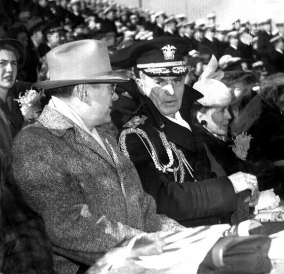 Admiral William Daniel Leahy and his party are pictured at the 1944 Army-Navy game in Baltimore Stadium. (Baltimore Sun file photo)