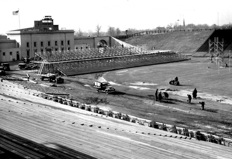 Baltimore Stadium is readied for the 1944 Army-Navy game. (Baltimore Sun file photo)
