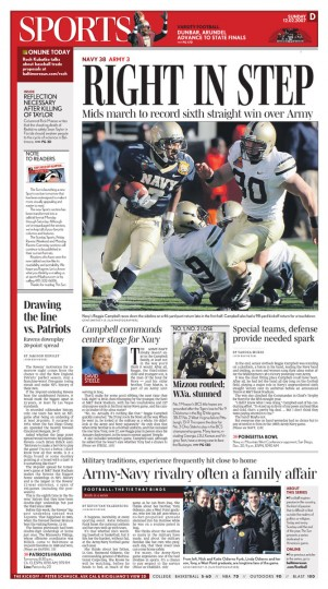 Coverage of the 2007 Army-Navy game in The Baltimore Sun.