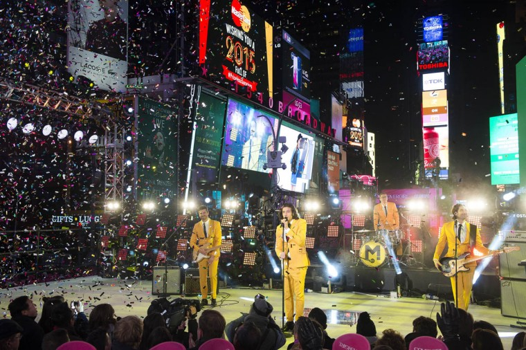 The band Magic! perform in Times Square during New Year's Eve celebrations on Wednesday, Dec. 31, 2014 in New York. (Charles Sykes/AP photo)