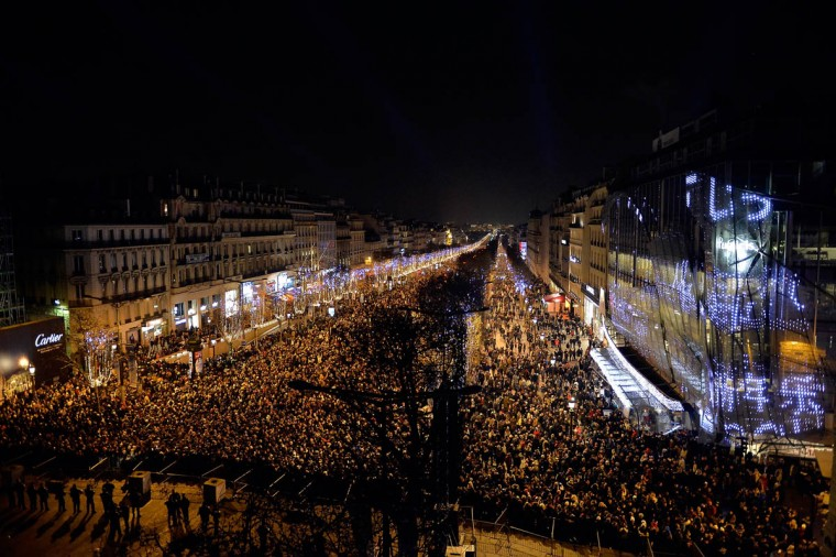 A general view of atmosphere on the Champs-Elysees during the New Year's Celebration on December 31, 2014 in Paris, France. (Aurelien Meunier/Getty Images)
