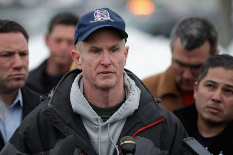 Howard County Police Chief William J. McMahon talks to reporters outside Columbia Town Center Mall following a shooting situation January 25, 2014 in Columbia, Maryland. Three people are dead after a shooting inside the mall. (Photo by Chip Somodevilla/Getty Images)